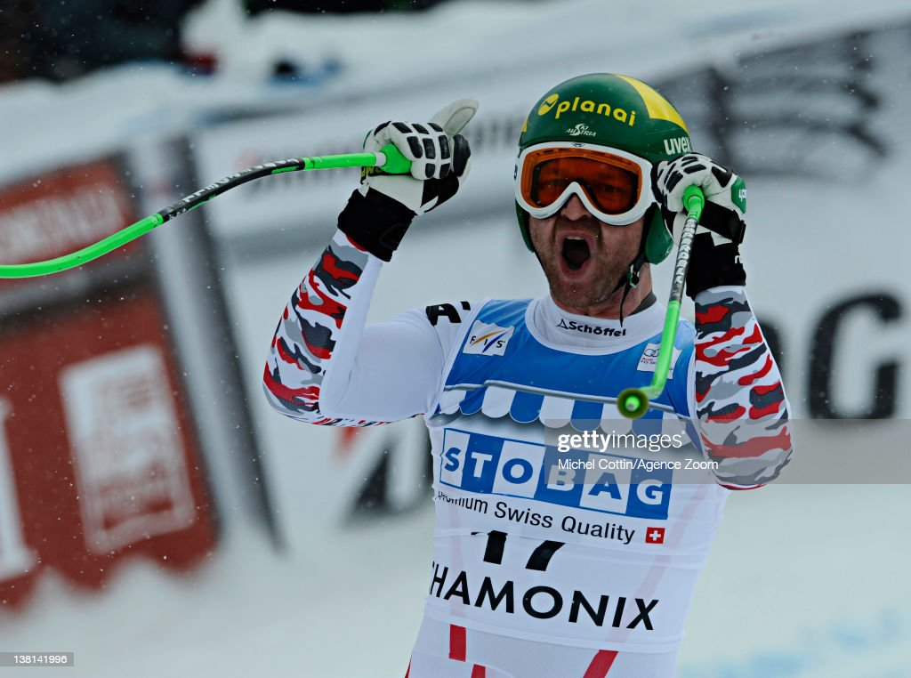Klaus Kroell of Austria takes 1st place during the Audi FIS Alpine Ski World Cup Men's Downhill on February 3, 2012 in Chamonix, France.