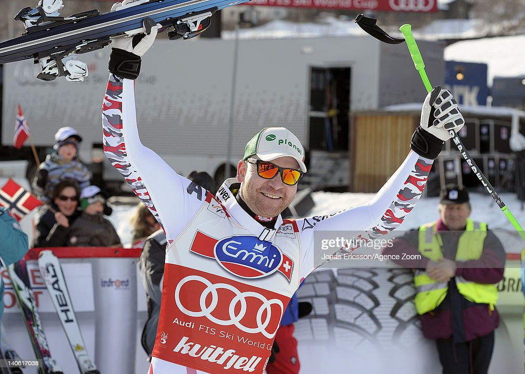 <a gi-track='captionPersonalityLinkClicked' href=/galleries/search?phrase=Klaus+Kroell&family=editorial&specificpeople=791783 ng-click='$event.stopPropagation()'>Klaus Kroell</a> of Austria takes 1st place during the Audi FIS Alpine Ski World Cup Men's Downhill on March 3, 2012 in Kvitfjell, Norway.