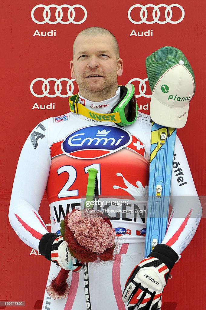 <a gi-track='captionPersonalityLinkClicked' href=/galleries/search?phrase=Klaus+Kroell&family=editorial&specificpeople=791783 ng-click='$event.stopPropagation()'>Klaus Kroell</a> of Austria takes 2nd place during the Audi FIS Alpine Ski World Cup Men's Downhill on January 19, 2013 in Wengen, Switzerland.