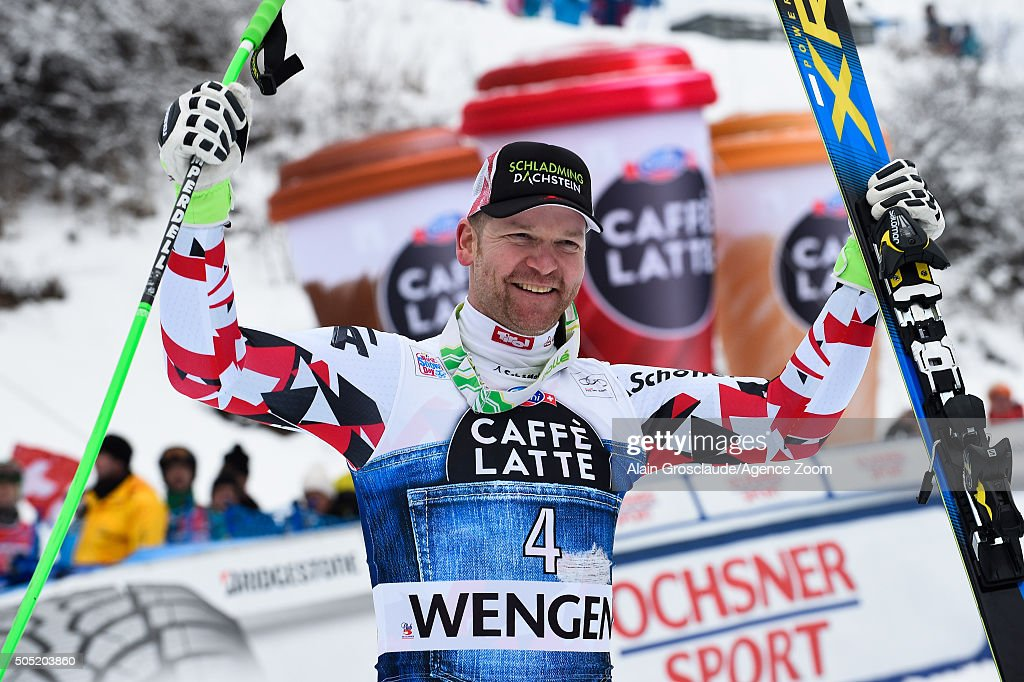 <a gi-track='captionPersonalityLinkClicked' href=/galleries/search?phrase=Klaus+Kroell&family=editorial&specificpeople=791783 ng-click='$event.stopPropagation()'>Klaus Kroell</a> of Austria takes 3rd place during the Audi FIS Alpine Ski World Cup Men's Downhill on January 16, 2016 in Wengen, Switzerland.