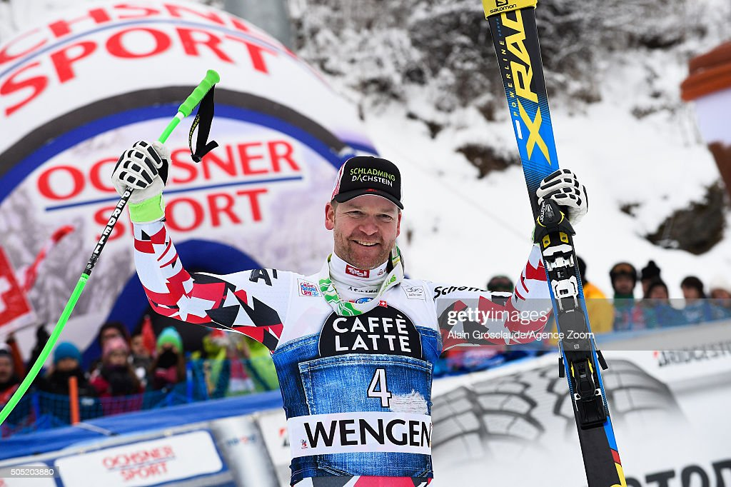 Klaus Kroell of Austria takes 3rd place during the Audi FIS Alpine Ski World Cup Men's Downhill on January 16, 2016 in Wengen, Switzerland.