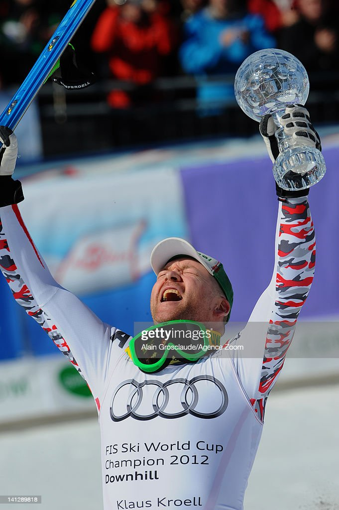<a gi-track='captionPersonalityLinkClicked' href=/galleries/search?phrase=Klaus+Kroell&family=editorial&specificpeople=791783 ng-click='$event.stopPropagation()'>Klaus Kroell</a> of Austria takes the Overall Downhill World Cup globe during the Audi FIS Alpine Ski World Cup Men's Downhill on March 14, 2012 in Schladming, Austria.