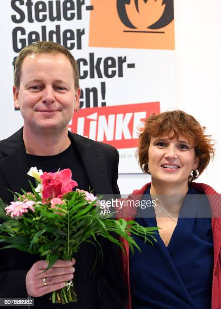 Klaus Lederer regional chairman and top candidate of the leftwing Die Linke party poses with the federal leader of Die Linke Katja Kipping on...