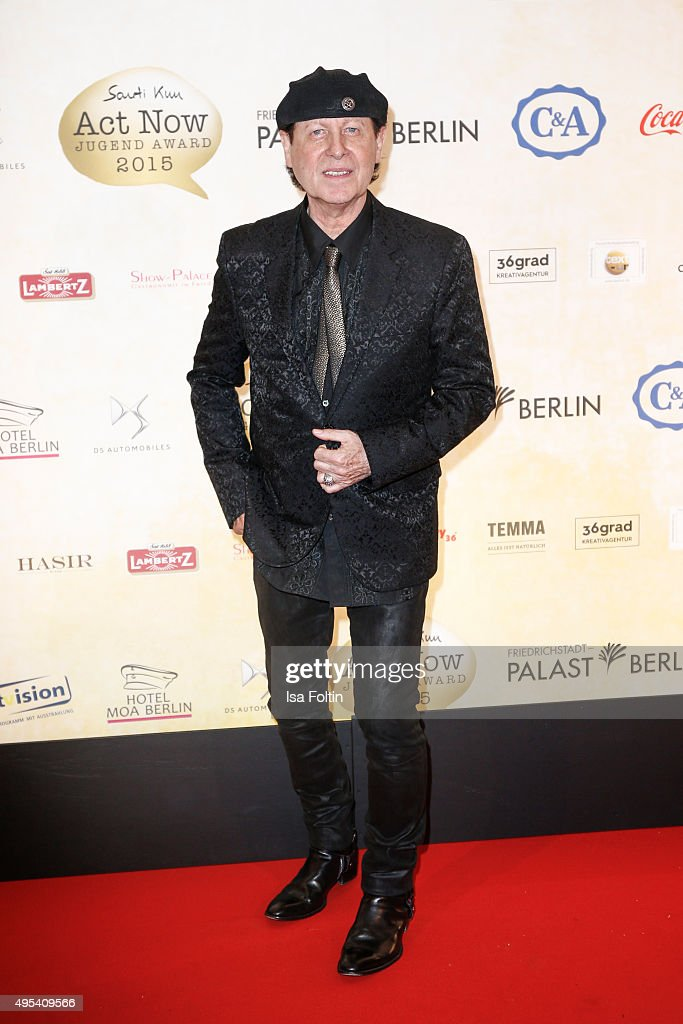 <a gi-track='captionPersonalityLinkClicked' href=/galleries/search?phrase=Klaus+Meine&family=editorial&specificpeople=240345 ng-click='$event.stopPropagation()'>Klaus Meine</a> attends the 1st Act Now Jugend Award at Friedrichstadt-Palast on November 2, 2015 in Berlin, Germany.