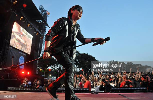 Klaus Meine from German heavy metal hard rock band Scorpions performs on stage at the opening of the Vieilles Charrues festival 20th edition on July...