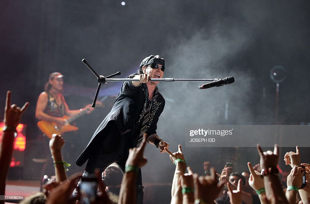Klaus Meine lead vocalist of the heavy metal band Scorpions performs on stage during a concert as part of the Byblos music festival in the coastal...