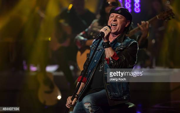 Klaus Meine of Scorpions performs during the TVShow 'Gabalier Die VolksRock'n'RollShow' on August 30 2014 in Fuessen Germany
