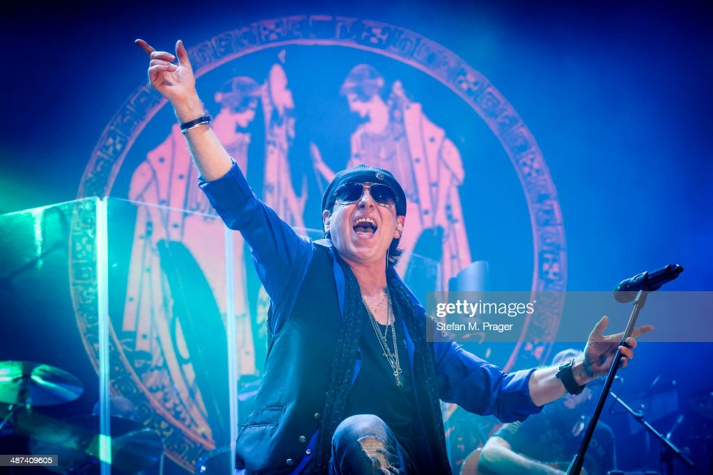 <a gi-track='captionPersonalityLinkClicked' href=/galleries/search?phrase=Klaus+Meine&family=editorial&specificpeople=240345 ng-click='$event.stopPropagation()'>Klaus Meine</a> of Scorpions performs on stage at Olympiahalle on April 29, 2014 in Munich, Germany.