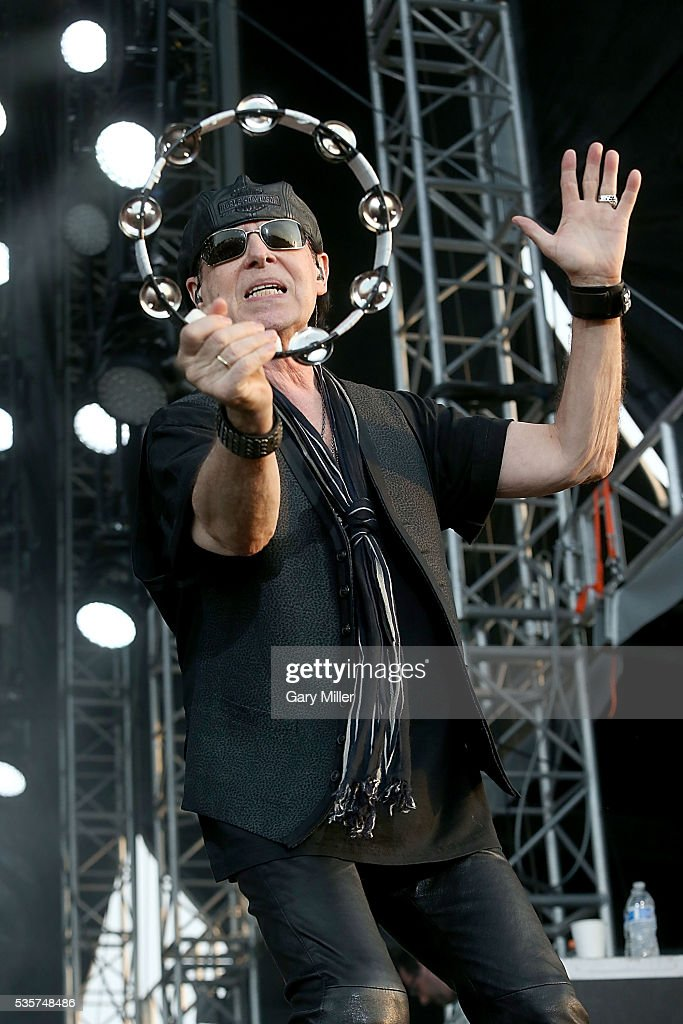 Klaus Meine performs in concert with the Scorpions during the River City Rock Fest at the ATT Center on May 26 2016 in San Antonio Texas