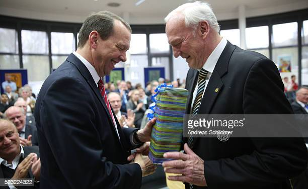 Klaus Meiser and Dr HansGeorg Moldenhauer during the awarding ceremony of HermannNeubergerAward on April 22 2016 in Saarbruecken Germany