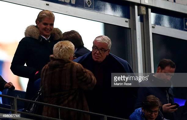 Klaus Michael Kuehne CEo of KuehneNagel logistics attends the Bundesliga match between Hamburger SV and Borussia Dortmund at Volksparkstadion on...