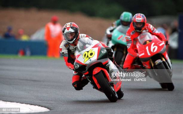 Klaus Nohles Aprilia Germany leads from Johan Stigefelt Chesterfield Yamaha Suzuki