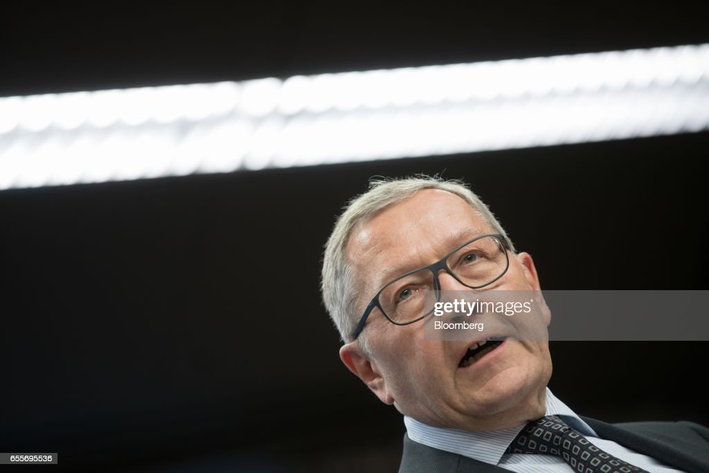 Klaus Regling, managing director of the European Stability Mechanism, speaks during a news conference following a Eurogroup meeting of finance ministers in Brussels, Belgium, on Monday, March 20, 2017. Wolfgang Schaeuble, Germany's finance minister, said to reporters ahead of the meeting of euro-area finance ministers We'll get a report on Greece, but the mission isn't completed. Photographer: Jasper Juinen/Bloomberg via Getty Images