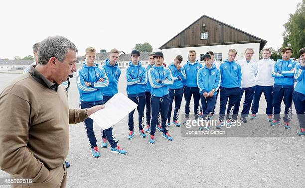 Klaus Schultz of the Dachau memorial site is guiding the German U17 national football team during their visit of the Concentration Camp Memorial...