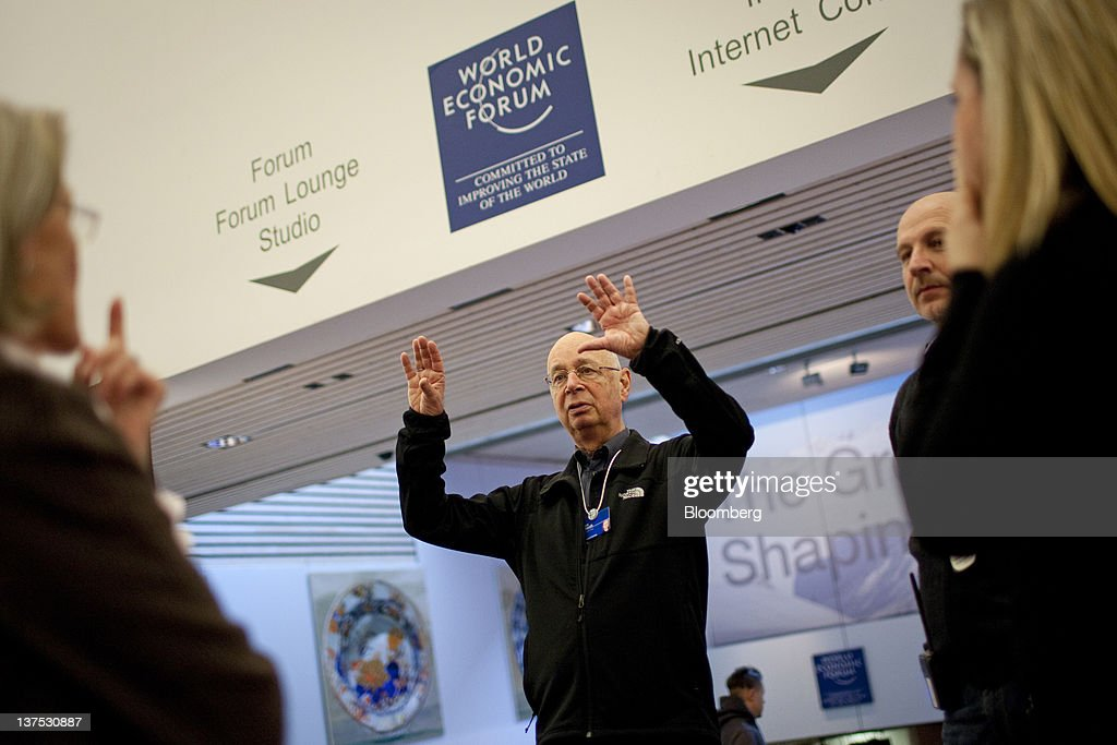 <a gi-track='captionPersonalityLinkClicked' href=/galleries/search?phrase=Klaus+Schwab&family=editorial&specificpeople=569943 ng-click='$event.stopPropagation()'>Klaus Schwab</a>, chairman of the World Economic Forum (WEF), inspects the inside the Congress Centre, the venue of the World Economic Forum's 2012 annual meeting, in the town of Davos, Switzerland, on Sunday, Jan. 22, 2012. German Chancellor Angela Merkel will open next week's World Economic Forum in Davos, Switzerland, which will be attended by policy makers and business leaders including U.S. Treasury Secretary Timothy F. Geithner. Photographer: Scott Eells/Bloomberg via Getty Images