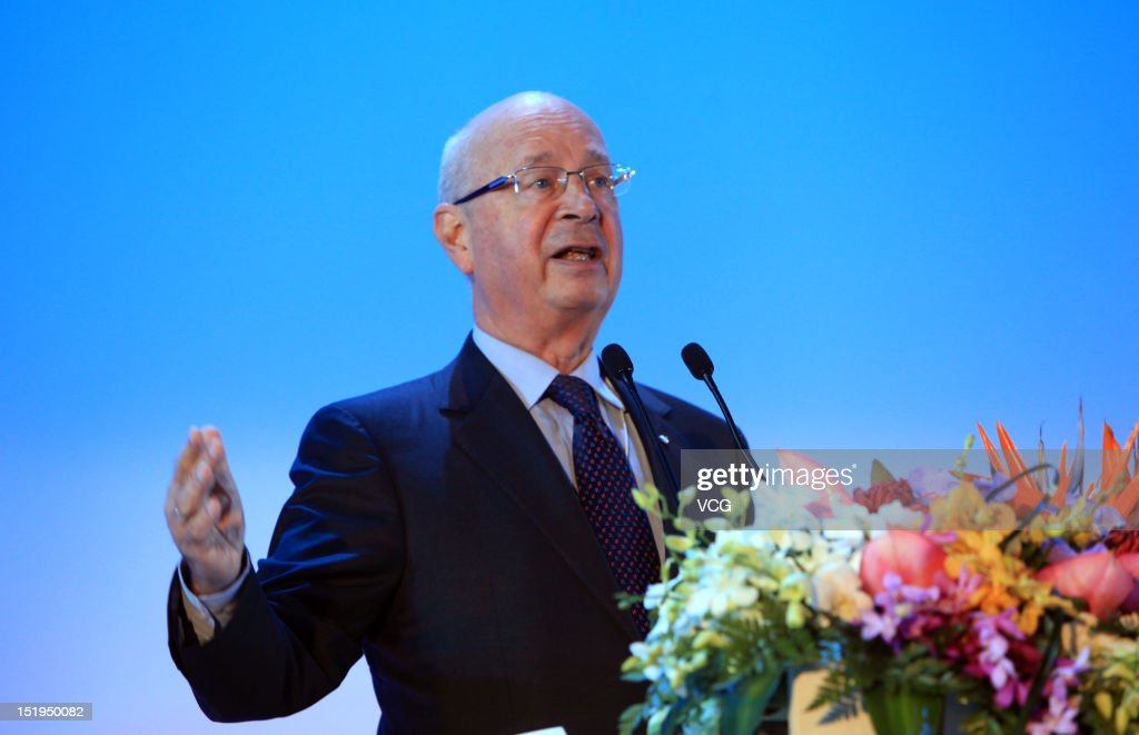 <a gi-track='captionPersonalityLinkClicked' href=/galleries/search?phrase=Klaus+Schwab&family=editorial&specificpeople=569943 ng-click='$event.stopPropagation()'>Klaus Schwab</a>, Founder and Executive Chairman of World Economic Forum, attends a welcome dinner during the 2012 Tianjin Summer Davos at Tianjin Cultural Center on September 12, 2012 in Tianjin, China. World Economic Forum 2012 Tianjin Summer Davos will be held from September 11 to 13, with the theme of 'Creating the Future Economy'.