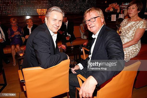 Klaus Wowereit and HansUlrich Joerges attend the Bertelsmann Summer Party at the Bertelsmann representative office on June 6 2013 in Berlin Germany