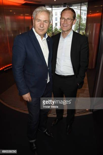 Klaus Wowereit and Michael Mueller attend the Cocktail prolonge to the SemiFinal Round Of Judging Of The International Emmy Awards 2017 on June 12...