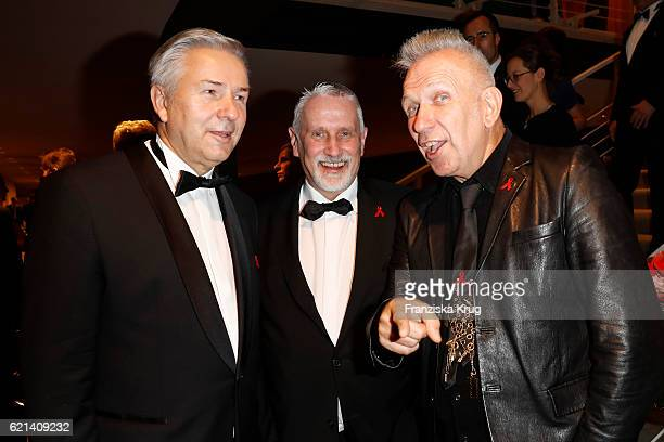 Klaus Wowereit Joerg Kubiki and Jean Paul Gaultier attend the aftershow party during the 23rd Opera Gala at Deutsche Oper Berlin on November 5 2016...