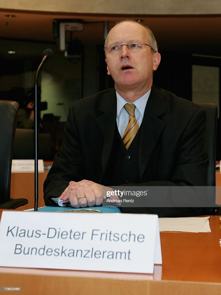 Klaus-Dieter Fritsche, former intelligence service co-ordinator of the Chancellery attends an opening session of Bundestag hearings on Germany's Iraq war involvement and related intelligence issues at Maria-Elisabeth-Lueders House on December 14, 2006 in Berlin, Germany. Fritsche will testify at the inquiry into Germany's past and present government's known intelligence service activities that may have broken German law after the 2001 terror attacks. The lower house of parliament will question the alleged abduction of Khaled el-Masri, a German of Lebanese origin, by the U.S. Central Intelligence Agency (CIN) to discover when the government found out about it.