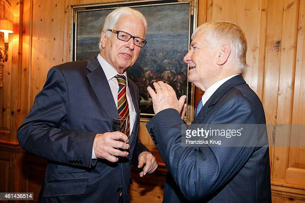 KlausMichael Kuehne and Otto Schily attend the Axel Springer Hosts New Year Reception on January 12 2015 in Berlin Germany