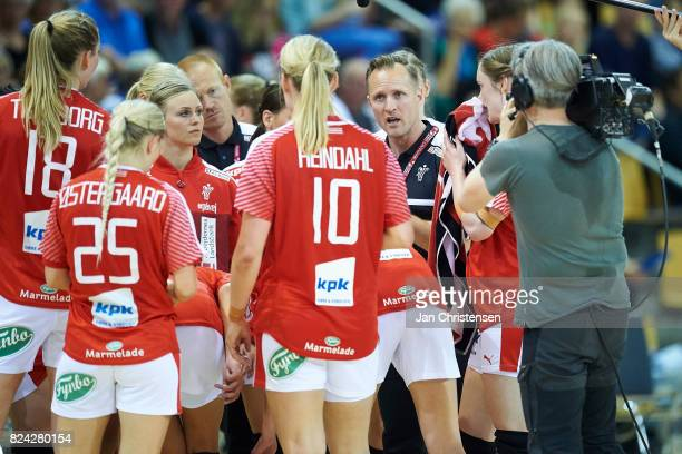 Klavs Bruun Jorgensen head coach of Denmark during timeout of the international friendly match between Denmark and Germany at Ceres Arena on June 08...
