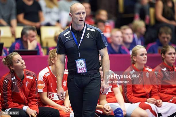 Klavs Bruun Jorgensen head coach of Denmark looks on from the bench during the 22nd IHF Women's Handball World Championship match between Denmark and...