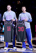 Klay Thompson and Stephen Curry of the Golden State Warriors poses with their Allstar jersey prior to the game against the Dallas Mavericks at ORACLE...