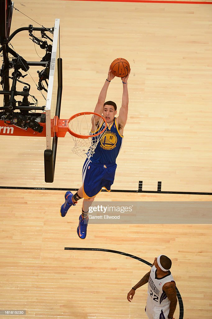 Klay Thompson #11 of Team Shaq goes up for the slamdunk against Team Chuck during 2013 BBVA Rising Stars Challenge at Toyota Center on February 15, 2013 in Houston, Texas.