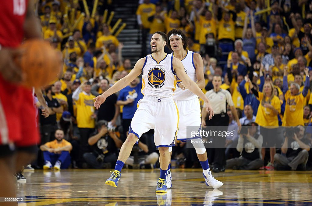 <a gi-track='captionPersonalityLinkClicked' href=/galleries/search?phrase=Klay+Thompson&family=editorial&specificpeople=5132325 ng-click='$event.stopPropagation()'>Klay Thompson</a> #11 of the Golden State Warriors and <a gi-track='captionPersonalityLinkClicked' href=/galleries/search?phrase=Anderson+Varejao&family=editorial&specificpeople=202247 ng-click='$event.stopPropagation()'>Anderson Varejao</a> #18 of the Golden State Warriors celebrate after Thompson made a three-point basket against the Houston Rockets in Game Five of the Western Conference Quarterfinals during the 2016 NBA Playoffs at ORACLE Arena on April 27, 2016 in Oakland, California.