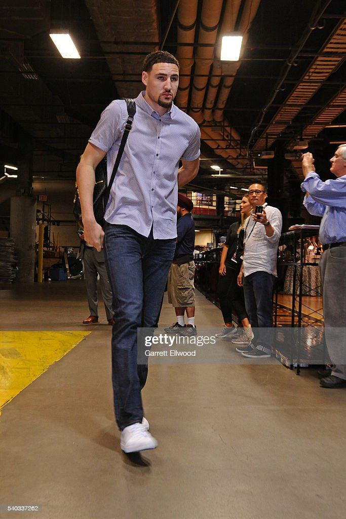 Klay Thompson #11 of the Golden State Warriors arrives before Game Four of the 2016 NBA Finals against the Cleveland Cavaliers at The Quicken Loans Arena on June 10, 2016 in Cleveland, Ohio.