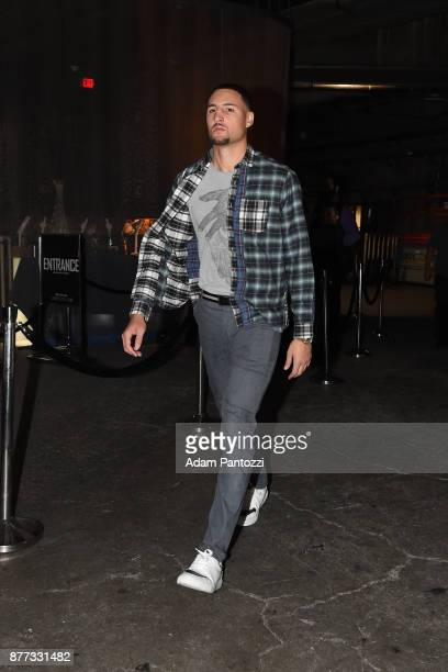 Klay Thompson of the Golden State Warriors arrives before the game against the LA Clippers on October 30 2017 at STAPLES Center in Los Angeles...