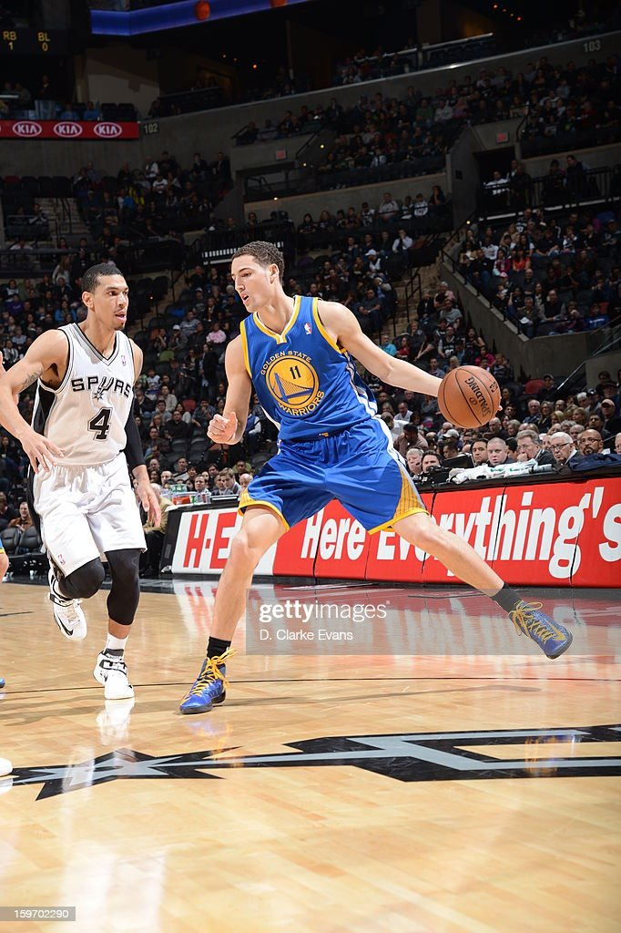 <a gi-track='captionPersonalityLinkClicked' href=/galleries/search?phrase=Klay+Thompson&family=editorial&specificpeople=5132325 ng-click='$event.stopPropagation()'>Klay Thompson</a> #11 of the Golden State Warriors backs up for a shot in a game on January 18, 2013 at the AT&T Center in San Antonio, Texas.