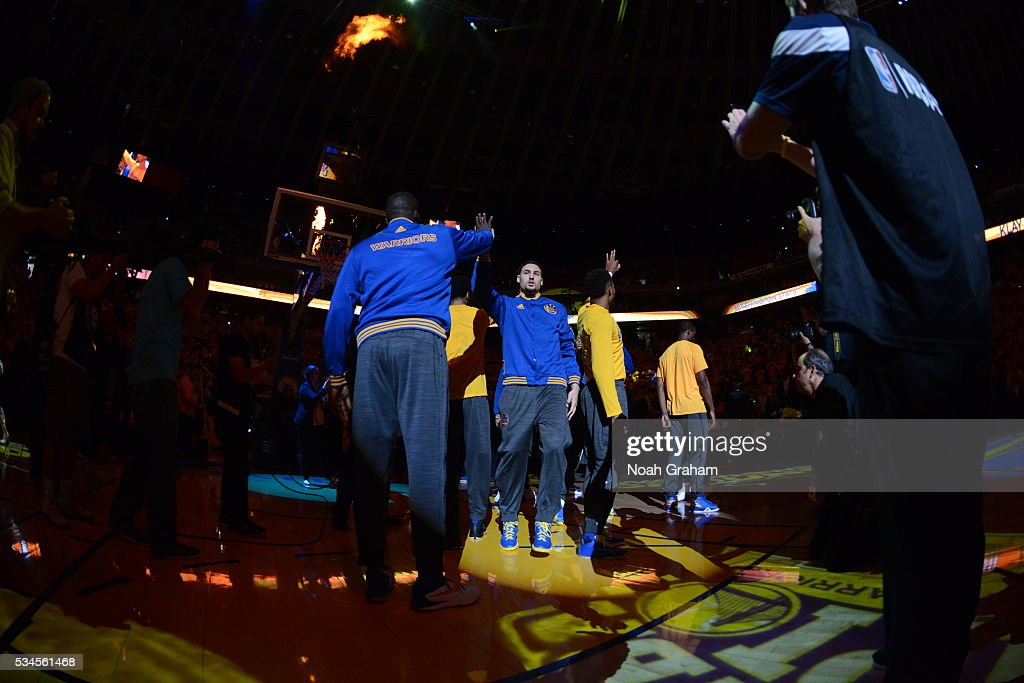 <a gi-track='captionPersonalityLinkClicked' href=/galleries/search?phrase=Klay+Thompson&family=editorial&specificpeople=5132325 ng-click='$event.stopPropagation()'>Klay Thompson</a> #11 of the Golden State Warriors before facing the Oklahoma City Thunder Game Five of the Western Conference Finals during the 2016 NBA Playoffs on May 26, 2016 at ORACLE Arena in Oakland, California.