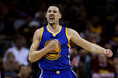 Klay Thompson of the Golden State Warriors celebrates a three pointer in the fourth quarter against the Cleveland Cavaliers during Game Six of the...