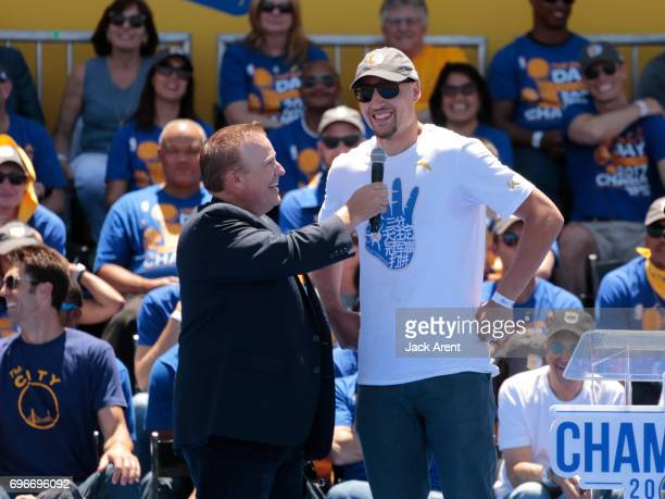 Klay Thompson of the Golden State Warriors celebrates winning the 2017 NBA Championship during a parade on June 15 2017 in Oakland CA NOTE TO USER...