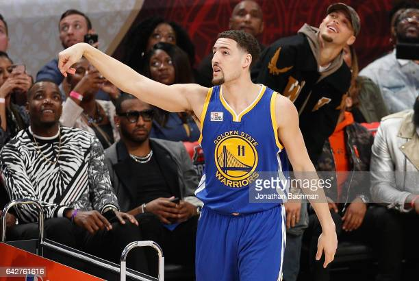 Klay Thompson of the Golden State Warriors competes in the 2017 JBL ThreePoint Contest at Smoothie King Center on February 18 2017 in New Orleans...