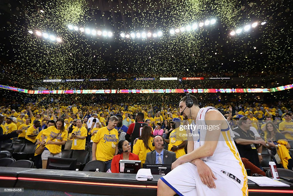 Klay Thompson #11 of the Golden State Warriors does an interview after they beat the Portland Trail Blazers in Game One of the Western Conference Semifinals for the 2016 NBA Playoffs at ORACLE Arena on May 01, 2016 in Oakland, California.