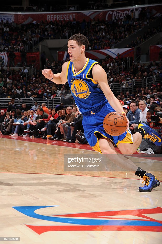 <a gi-track='captionPersonalityLinkClicked' href=/galleries/search?phrase=Klay+Thompson&family=editorial&specificpeople=5132325 ng-click='$event.stopPropagation()'>Klay Thompson</a> #11 of the Golden State Warriors drives to the basket against the Los Angeles Clippers at Staples Center on January 5, 2013 in Los Angeles, California.