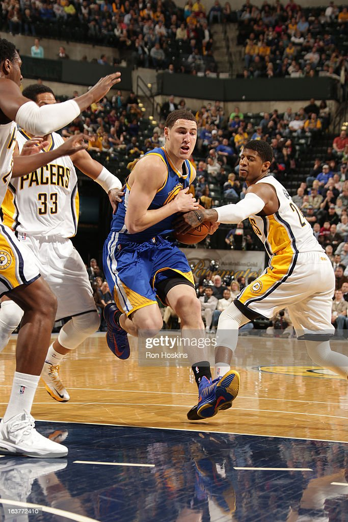 Klay Thompson #11 of the Golden State Warriors drives to the basket against the Indiana Pacers on February 26, 2013 at Bankers Life Fieldhouse in Indianapolis, Indiana.