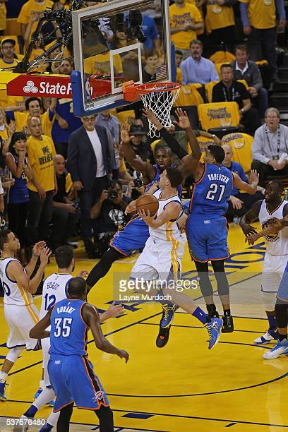 Klay Thompson of the Golden State Warriors drives to the basket against the Oklahoma City Thunder in Game Five of the Western Conference Finals...