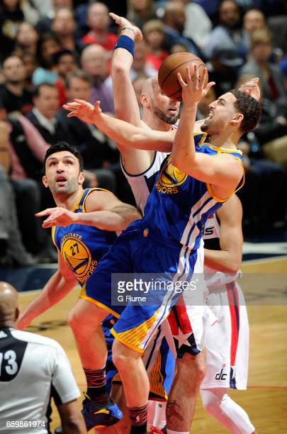 Klay Thompson of the Golden State Warriors drives to the hoop against the Washington Wizards at Verizon Center on February 28 2017 in Washington DC