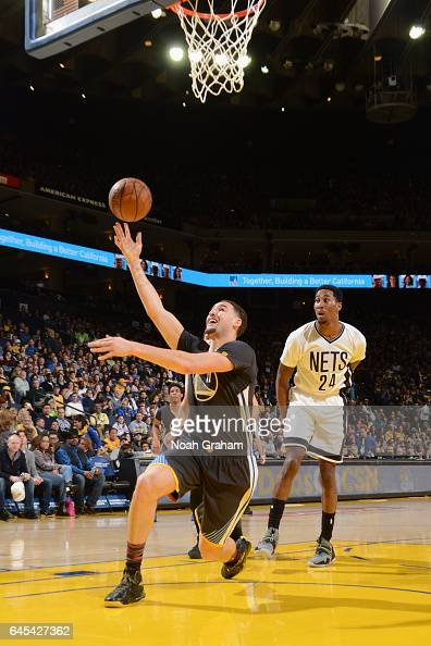 Klay Thompson of the Golden State Warriors goes to the basket against the Brooklyn Nets on February 25 2017 at ORACLE Arena in Oakland California...