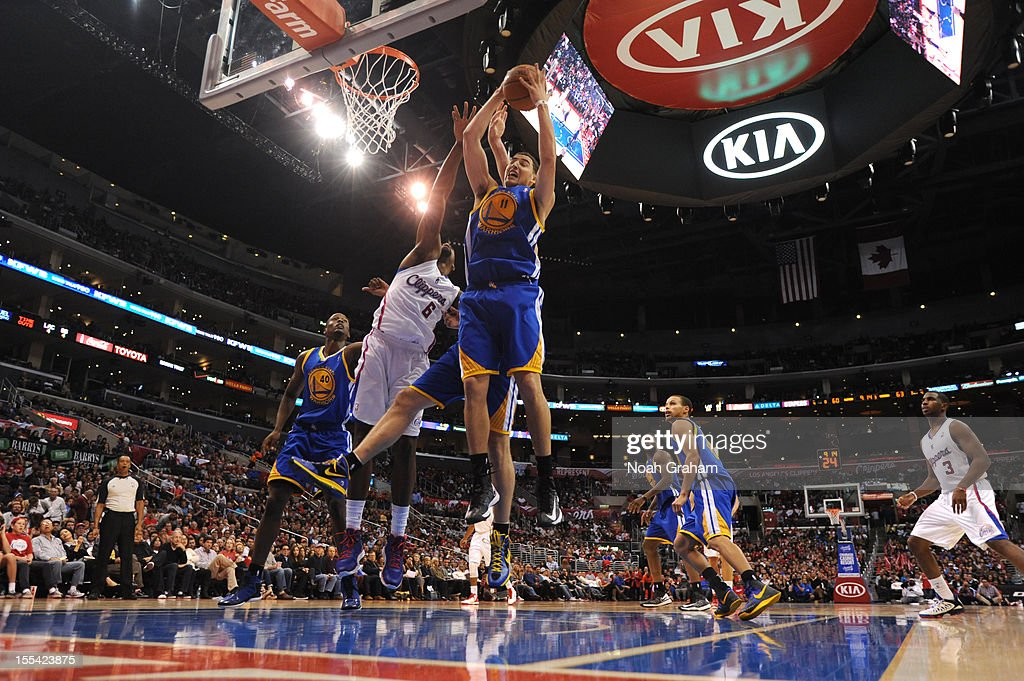 Klay Thompson #11 of the Golden State Warriors goes to the basket during the game between the Los Angeles Clippers and the Golden State Warriors at Staples Center on November 3, 2012 in Los Angeles, California.