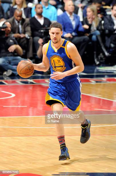 Klay Thompson of the Golden State Warriors handles the ball against the Washington Wizards at Verizon Center on February 28 2017 in Washington DC