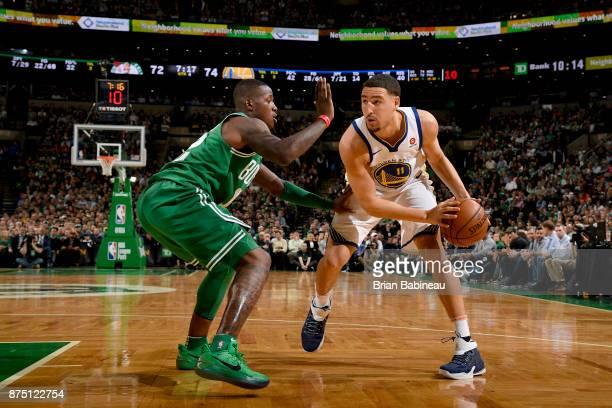Klay Thompson of the Golden State Warriors handles the ball against the Boston Celtics on November 16 2017 at the TD Garden in Boston Massachusetts...