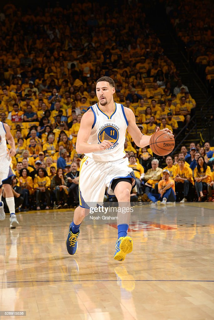 Klay Thompson #11 of the Golden State Warriors handles the ball during the game against the Portland Trail Blazers in Game One of the Western Conference Semifinals during the 2016 NBA Playoffs on May 1, 2016 at ORACLE Arena in Oakland, California.