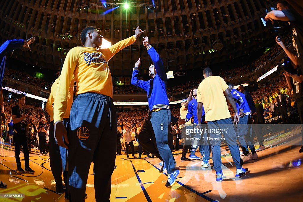 <a gi-track='captionPersonalityLinkClicked' href=/galleries/search?phrase=Klay+Thompson&family=editorial&specificpeople=5132325 ng-click='$event.stopPropagation()'>Klay Thompson</a> #11 of the Golden State Warriors is introduced before the game against the Oklahoma City Thunder in Game Five of the Western Conference Finals during the 2016 NBA Playoffs on May 26, 2016 at ORACLE Arena in Oakland, California.