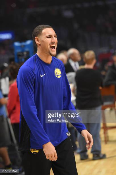 Klay Thompson of the Golden State Warriors is seen during the game against the LA Clippers on October 30 2017 at STAPLES Center in Los Angeles...