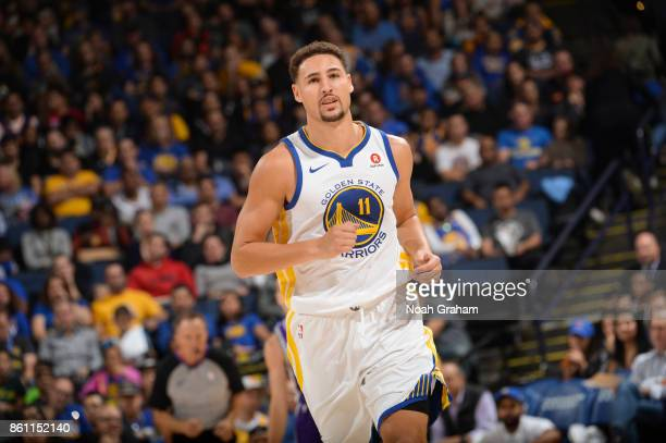 Klay Thompson of the Golden State Warriors looks on during preseason game against the Sacramento Kings on October 13 2017 at ORACLE Arena in Oakland...